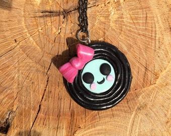 Polymer Clay Kawaii Vinyl Record Charm Necklace