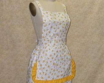 Apron Daisy bib adjustable cross back strap divided front pocket yellow ruffle cotton fully lined top stitched whtie yellow gray grey frilly