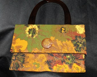 Handmade Handbag Purse Adler Vintage Upholstery Fabric Barton Pattern Olive Green, Orange & Brown with new tortoise handles