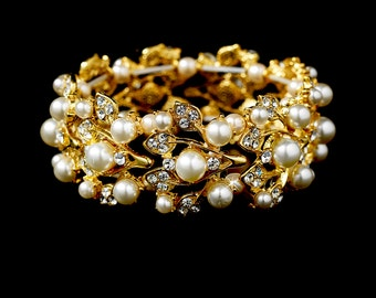 Gold pearl bridal bracelet vintage style crystal pearl cuff bracelet Downton Abbey, wedding jewellery