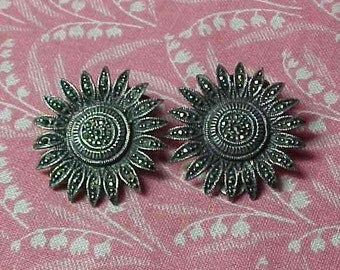 Vintage 925 Sterling and Marcasite Flower Clip on Earrings