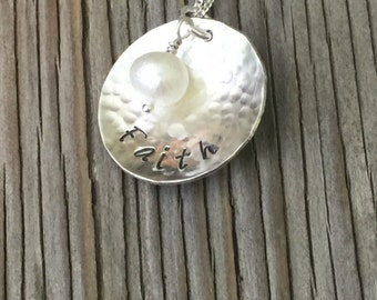 Sterling silver charm pendant- hand stamped Faith inspirational necklace girlfriend gift for her silver jewelry