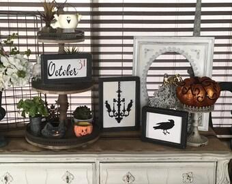 halloween, halloween decor, halloween decoration, spooky decor, spooky halloween, signs, wood signs, home decor, wall decor, framed decor
