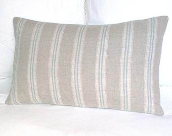 "Kate Forman - Duck Egg Stripe -  Linen cushion / lumbar throw pillow cover - UK Designer - Natural Linen Ticking Stripe - 20 x 12"""