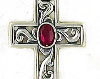 Sterling SilverCross - Garnet Gemstone - Christian Cross - Religious Jewelry - Renaissance Style Cross - Sale