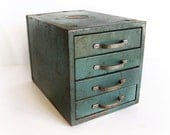 Vintage Metal Cabinet 4 Drawer Wards Master Quality Bin , Green Parts Box  , Rusty Metal Storage Box Sectioned Storage 1950s