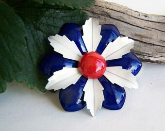 Vintage Enamel Flower Brooch Layered Petals Red White and Blue Bright Color 1960s Jewelry Collectible Estate Jewelry