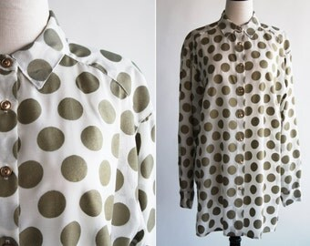 Gold and Cream Oversize Long Sleeve Woman's Vintage Button Down Shirt