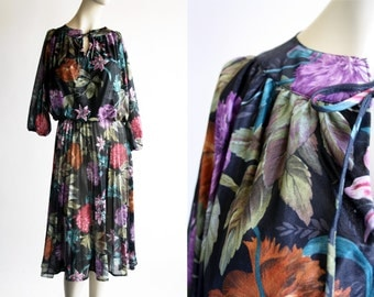 Sheer Vintage Floral Print Tie Neck Elastic Waist Bohemian Hippie 3/4 Puf Sleeve Midi Length Woman's Retro Dress