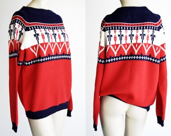 Vintage JC Penny Acrylic Red White and Blue Ski Sweater Unisex Men's Woman's Winter Long Sleeve Knit Top
