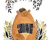Bear Playing Accordion art print
