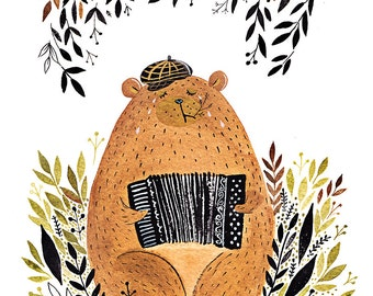 Bear Playing Accordion art print