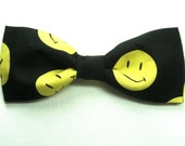 Fun Yellow Smiley Face on Black New Bow Tie for Men Boys Adjustable Pretied Handmade Bowtie Gustys