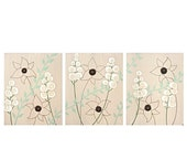 ON SALE Modern Nature Art - Textured Flower Painting - Brown and Green Triptych Art on Canvas - Large 50x20