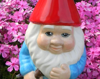 Gnome - Yard and Garden Gnome w Blue   Jacket Glazed hand painted outdoor garden statue