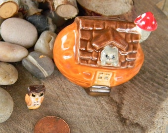 Walnut  House Miniature  Little Clay Ceramic Glazed ..terrarium or Fairy Garden Home - Gnomes can live here too