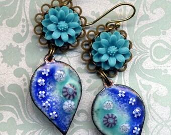 Enamel Earrings, Turquoise Blue Earrings, 18 K Gold Filed Enamel Earrings, Leaf Earrings, Handmade by AnnaArt72