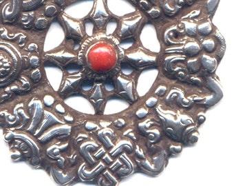 Sterling Astamangala Dharma Wheel Pendant, Buddhist Necklace, Sterling Silver Buddhist Pendant , Nepal Jewelry by AnnaArt72