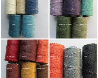 Pick Three Waxed Irish Linen, Three Five Yard Cuts, TWO Ply, Linen Thread, Linen cord, Waxed Linen cord, 2 ply, Waxed Linen, Stringing