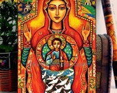 Our Lady of the Sign, Religious painting, Mary and Jesus, Mother and child, home decor wall decor woman art on wood, CG