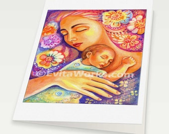 sleeping woman child nursery wall art mother and child art motherhood art divine feminine, mother woman card, woman card, 6x8