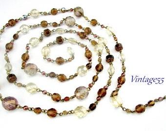 Necklace Sautoir 48 inch Glass Beaded Fall