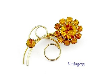 Vintage Brooch Golden Amber Fall Floral Gold tone