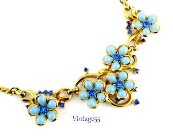 Necklace Blue Forget Me Not Rhinestone Gold tone