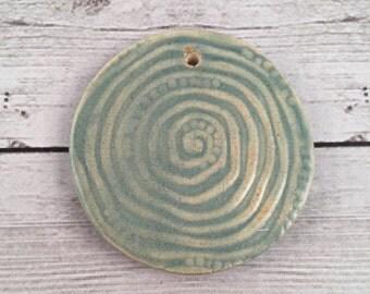 Handmade Ceramic Pendant Gnarly Spiral Texture Soft Blue Glaze