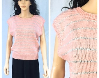 Vintage Pink and Silver Striped Sweater. Sleeveless Pullover Sweater. Size Large. Handmade. 1980s. Under 15 Sweaters. Pink Peach.