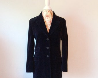 vintage Fendi jacket // long velvet blazer // 1990's logo women's coat 42