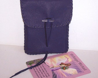 Leather Tarot Bag / Medicine Bag...Medium Vertical Flap.... PURPLE