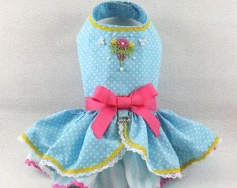 Dog Dress, Dog Harness Dress, Dog Fashion for Small Dog, Easter Dress for Dog, Ruffle Dress for Dog, Lace Dress, Handmade Dress, Blue