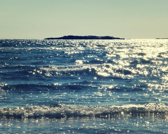 "Ocean Photography, Sea, Nautical, Beach, Blue, Rolling Waves, Tide, Shoreline, 8x10. ""Like Diamonds""."
