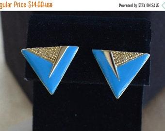 On sale Pretty Vintage Enamel Sky Blue, Gold tone Triangle Pierced Earrings (A7)