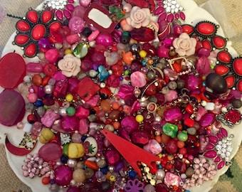 HUGE 1 pound 8 oz Destash Bead Mix Vintage glass Plastic Wood stone Red PINK Inspiration Altered art
