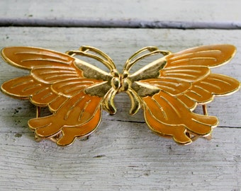 Butterfly Belt Buckle Gold Tone 1970s Vintage