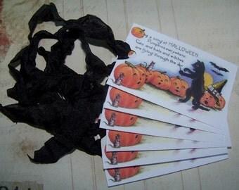 Halloween Tags Black Cat & Pumpkin Tags Vintage Style Set of 6 or 9