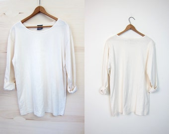 Natural Cotton Long Sleeve Tee Minimal White Cotton Top Simple Boho Blouse Vintage 90s Simple Cotton Scoop Neck Basic Shirt Womens Small