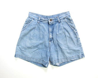 """Vintage Jean Shorts 80s 90s MOM Jean Shorts Washed Out Pleated Denim Shorts High Waist Preppy Shorts Dells Faded Blue Womens Waist 28"""""""