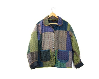 Embroidered Spring Jacket Button Up Purple Blue Green Cotton Floral Jackete Patchwork Ethnic Jacket Coat Boho Hippie Womens Small Medium