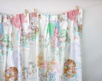 Vintage Care Bear Curtains pair of children's curtains long drapes 1980s Cartoon Fabric Kid's Room Home Decor Retro Hipster