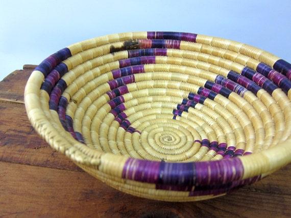 Rustic Handwoven Woven SISAL Bowl Coil Basketweave Bowl Modern Natural Earthy Home Decor Purple Swirl Bohemian Chic Decorative Woven Bowl