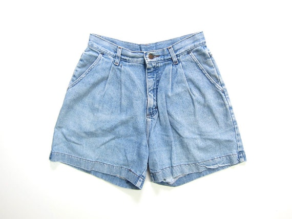 Vintage Jean Shorts 80s 90s MOM Jean Shorts Washed Out Pleated Denim Shorts High Waist Preppy Shorts Dells Faded Blue Womens Waist 28""