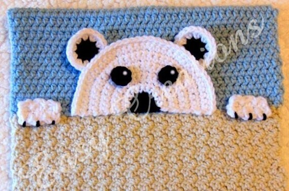 Animal Pillow That Turns Into Pajamas : PDF CROCHET PATTERN Peek-a-Polar Bear, Polar Bear Pajama Pillow, boy Pj bag, girl Pj pillow ...