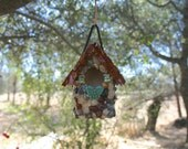 Small Birdhouse, Mosaic Stone Birdhouse with Butterflies, Agates, Colorful Stones