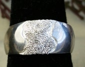 Domed Tapered Diamond Textured band, size 7, ready to ship, womens band, girls band, bling bling
