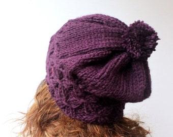 50% CLEARANCE SALE Slouchy Beanie Pom pom Hat Plum Purple Beret Chunky Baggy Beanie