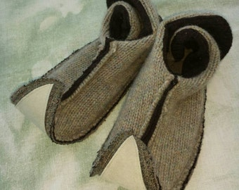 M Elf slippers upcycled wool and leather women's 6 1/2 to 8