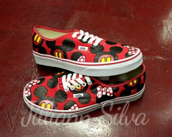 RED Disney Minnie &/or Mickey Mouse VANS! Any Size! ------ Childrens Sizes Available if Requested!